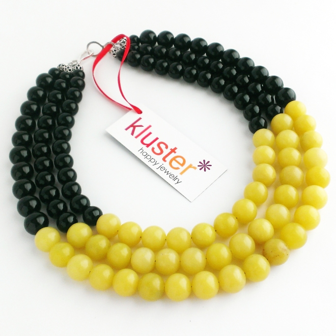 Chunky Statement Necklace in Black and Yellow.