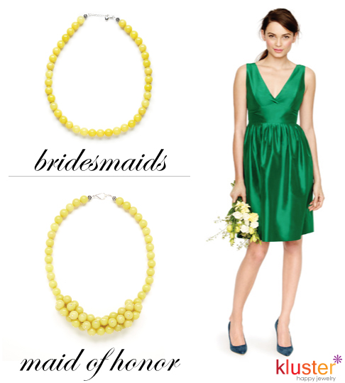 Emerald Green J.Crew Bridesmaid Dress with Lemon Jade Kluster Necklaces
