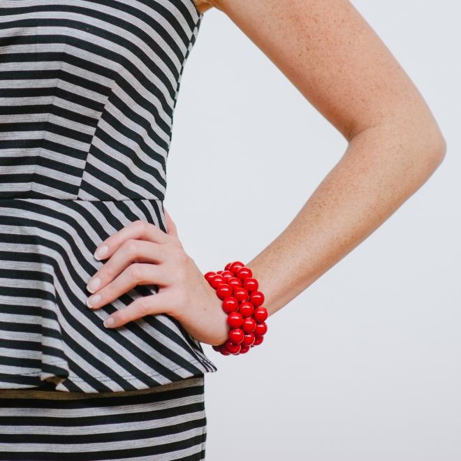 Red jade bracelet stack by Kluster.