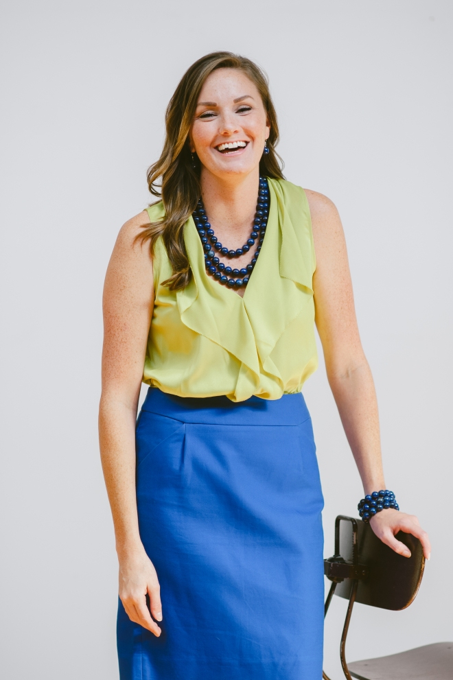 Teacher Outfit with Navy and Chartreuse Blouse