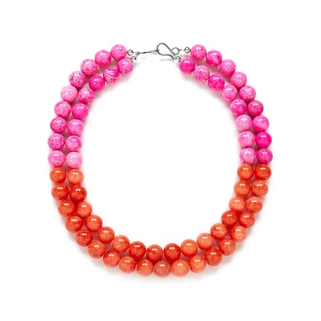 Pink Orange Gemstone Statement Necklace