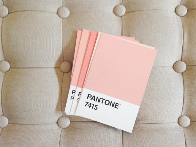 Pink Pantone Cards and Tufted Bench