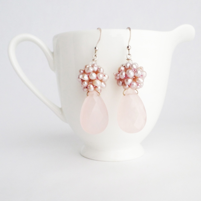 New Kluster Earrings in Light Pink Gesmtones