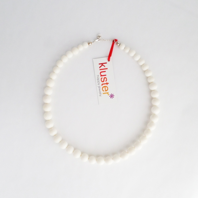 Spring Beaded Necklace in White Sponge Coral and Silver