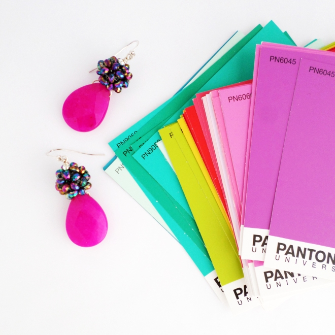 Kluster Pink Earrings with Pantone Color Cards