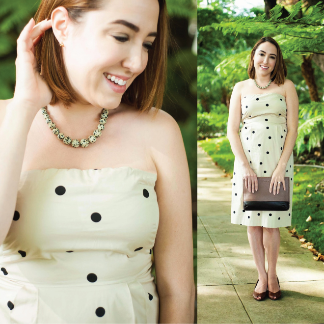 Kluster Spotted Leopard Necklace with J.Crew Dress