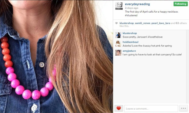 Playful Peach Necklace on Janssen, Everyday Reading