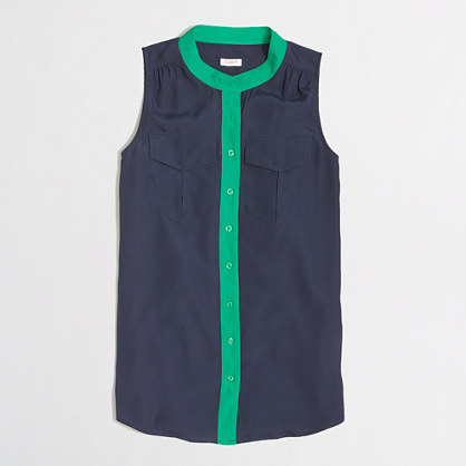 Navy Green Piped Blouse J.Crew